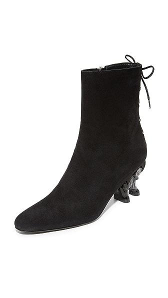Dorateymur Elephant Heel Booties - Black