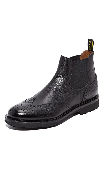Doucal's Savino Grain Leather Wingtip Chelsea Boots