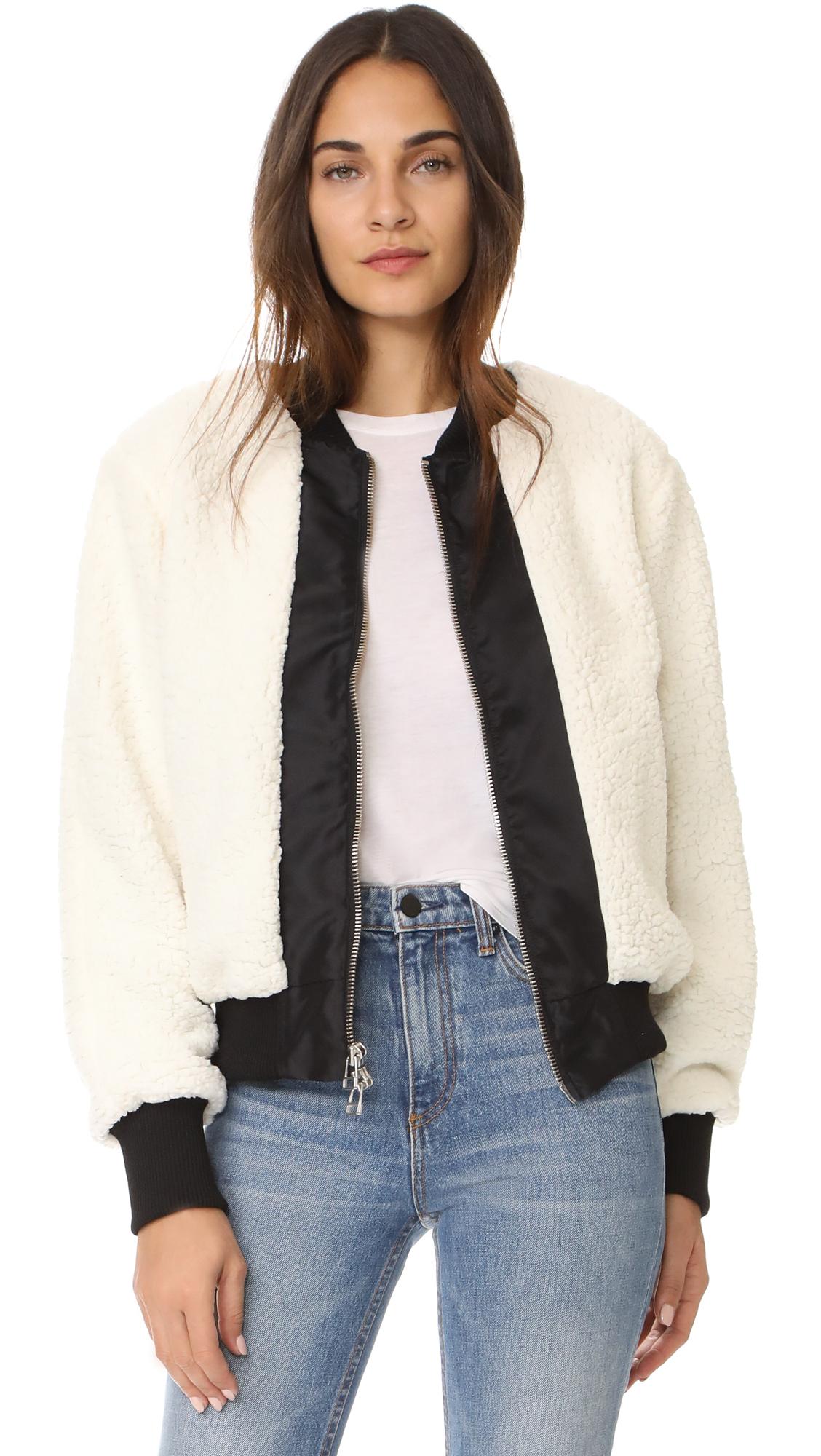 Daniel Patrick Heroine Bomber Sherpa Jacket - Ivory/Black