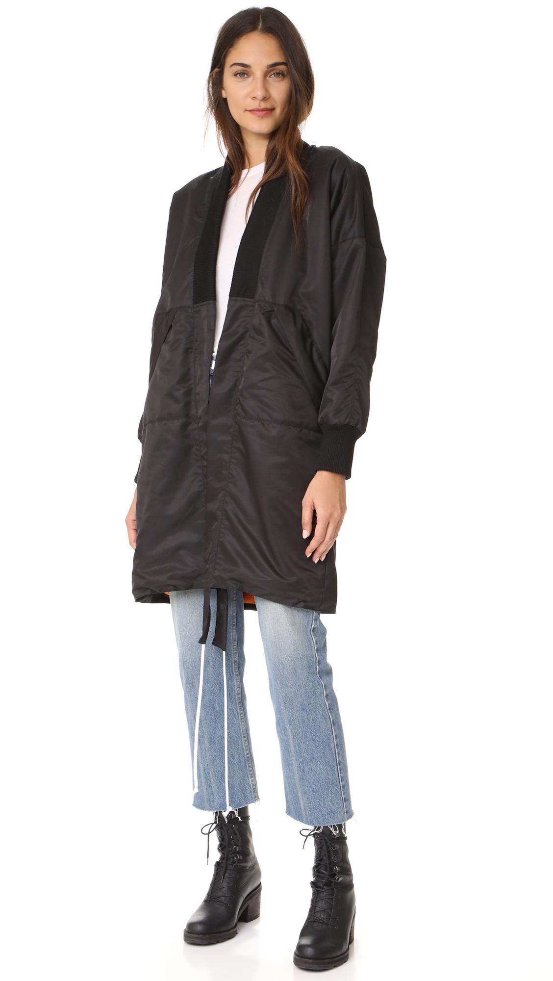 Daniel Patrick Heroine Kimono Bomber Long Polar Jacket - Black