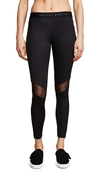 Daniel Patrick Mesh Trim Trail Leggings In Black