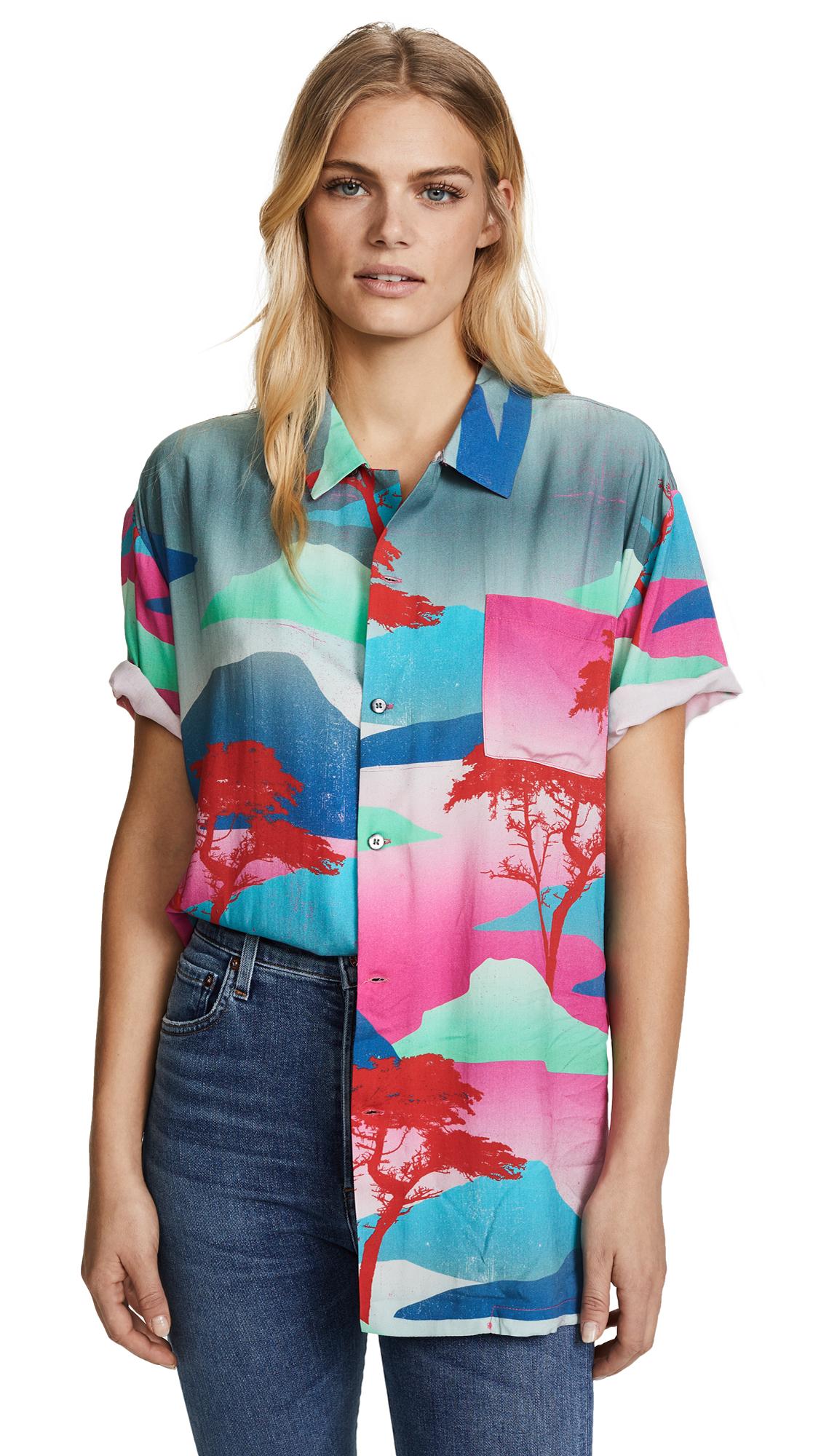 Double Rainbouu Moon Safari Hawaiian Cover Up Shirt