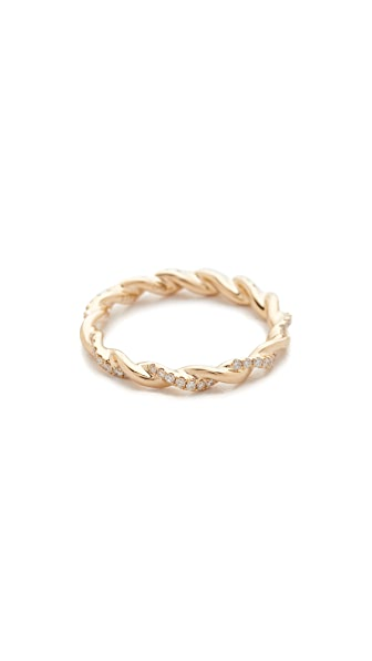 Dana Rebecca Carly Brooke Twisted Ring - Gold/Clear