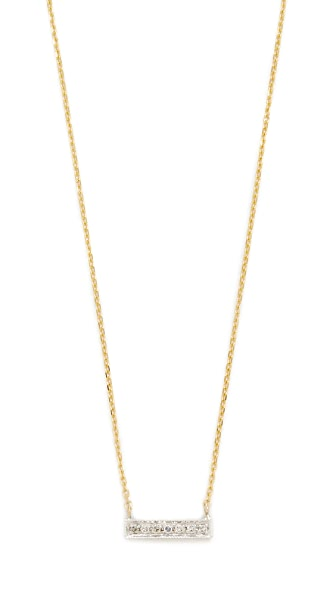 Dana Rebecca 14k Gold Sylvie Rose Bar Necklace In Gold/White Gold/Clear