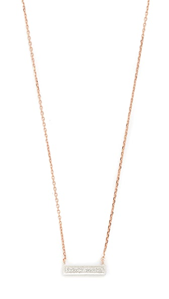 Dana Rebecca 14k Rose Gold Sylvie Rose Bar Necklace - Rose Gold/White Gold/Clear