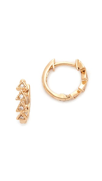 Dana Rebecca Emily Sarah Triangle Huggie Earrings - Gold/Clear