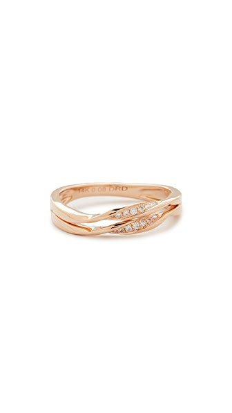 Dana Rebecca Carly Beth Double Twist Ring In Rose Gold/Clear
