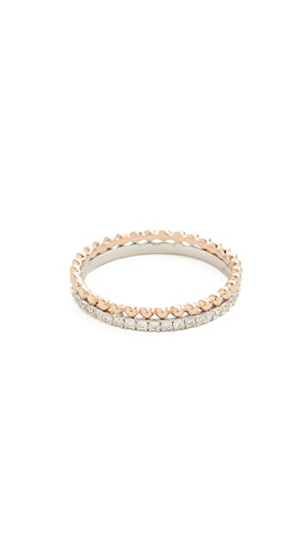 Dana Rebecca Poppy Rae Two Tone Double Band Ring - Rose Gold/White Gold