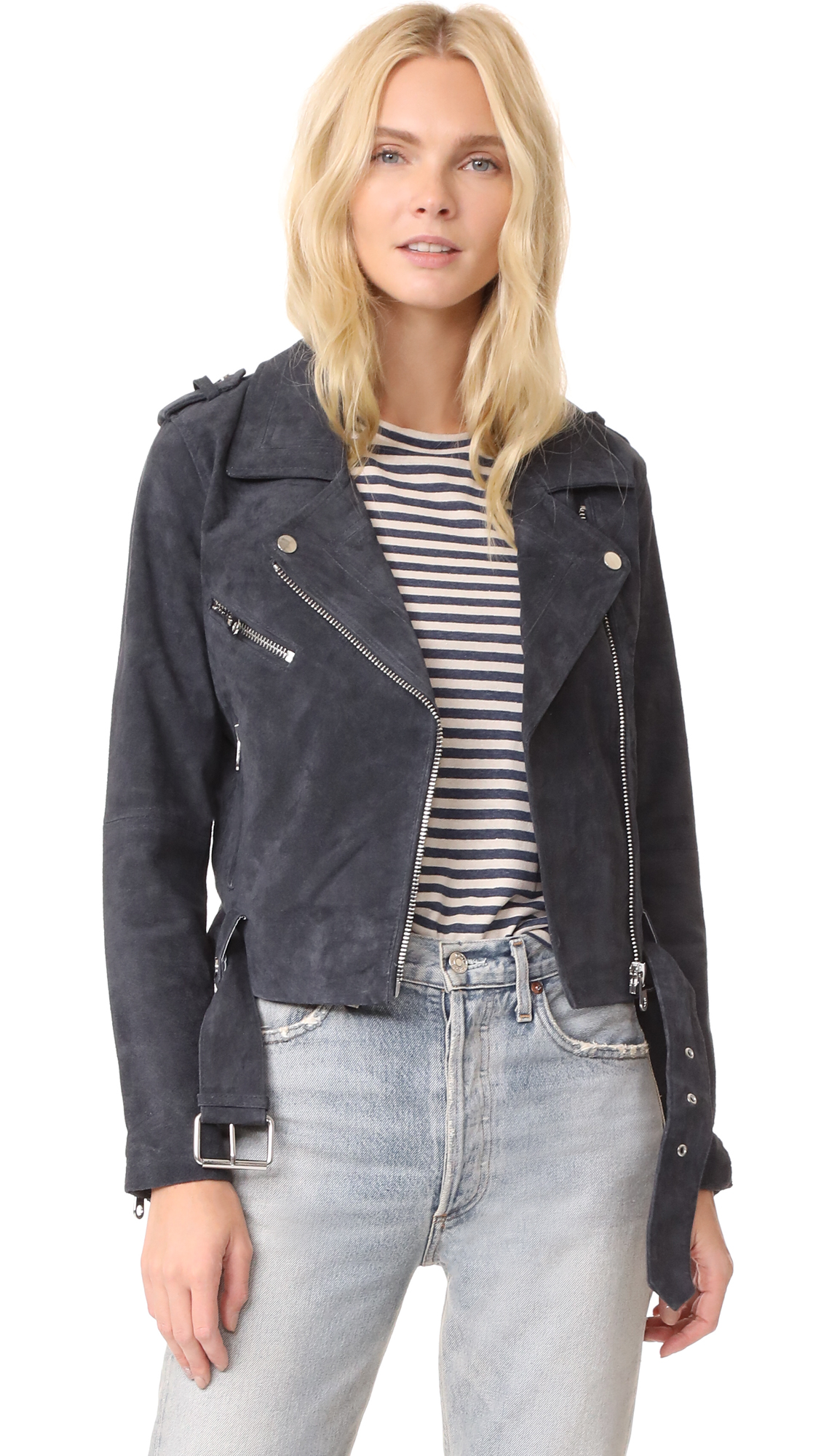 Driftwood Suede Moto Jacket - Smoke Grey