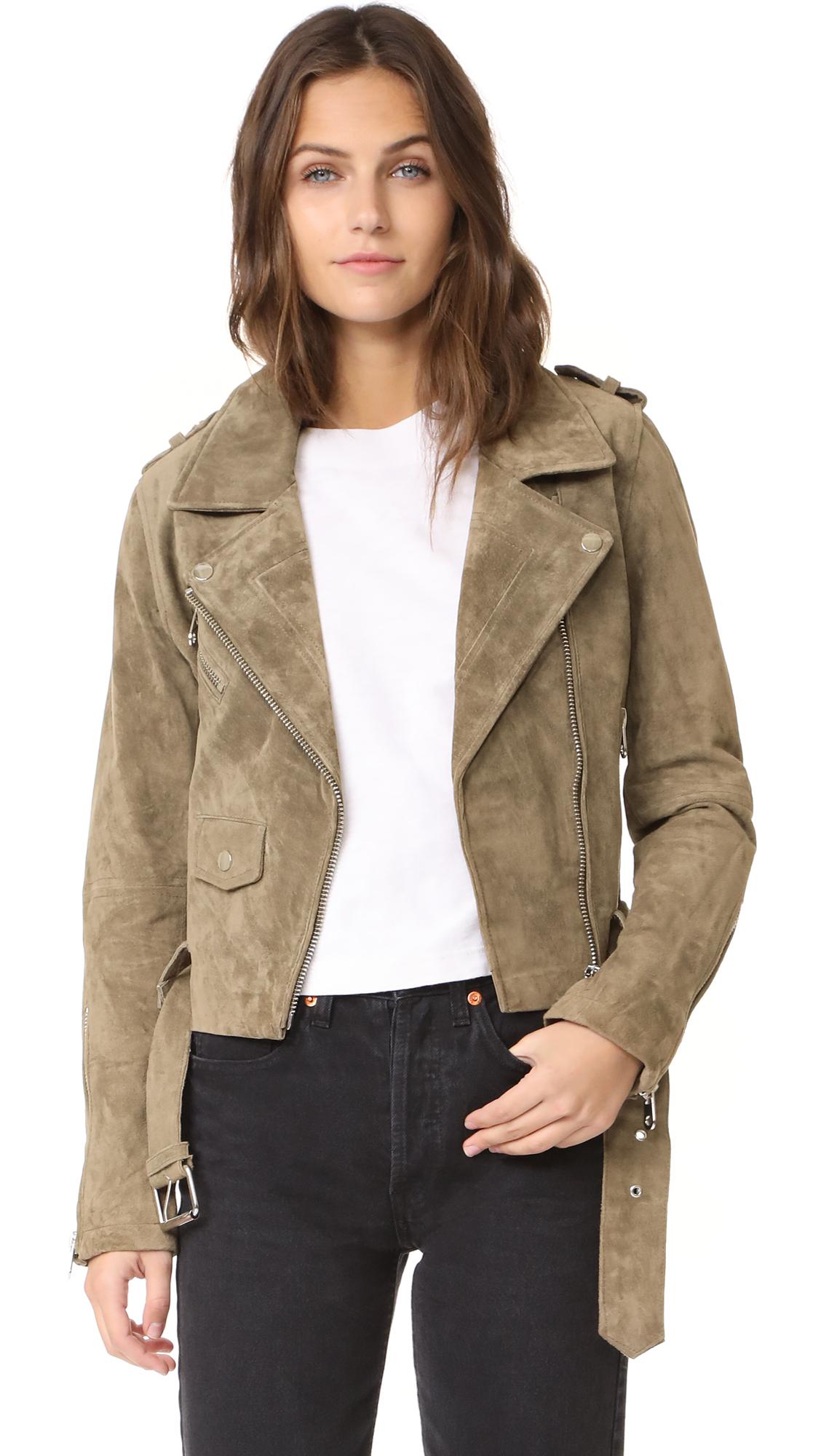 Driftwood Suede Moto Jacket - Dark Olive