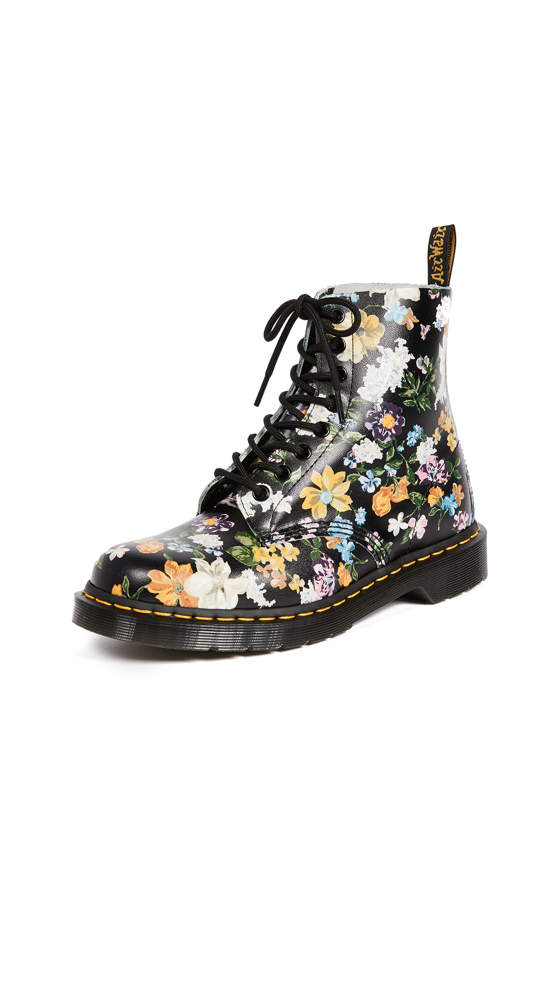 Dr. Martens Darcy Floral Pascal 8 Eye Boots - Black
