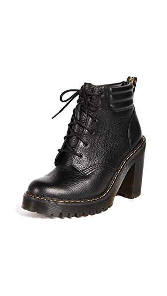 Dr. Martens Persephone 6 Eye Padded Collar Boots In Black