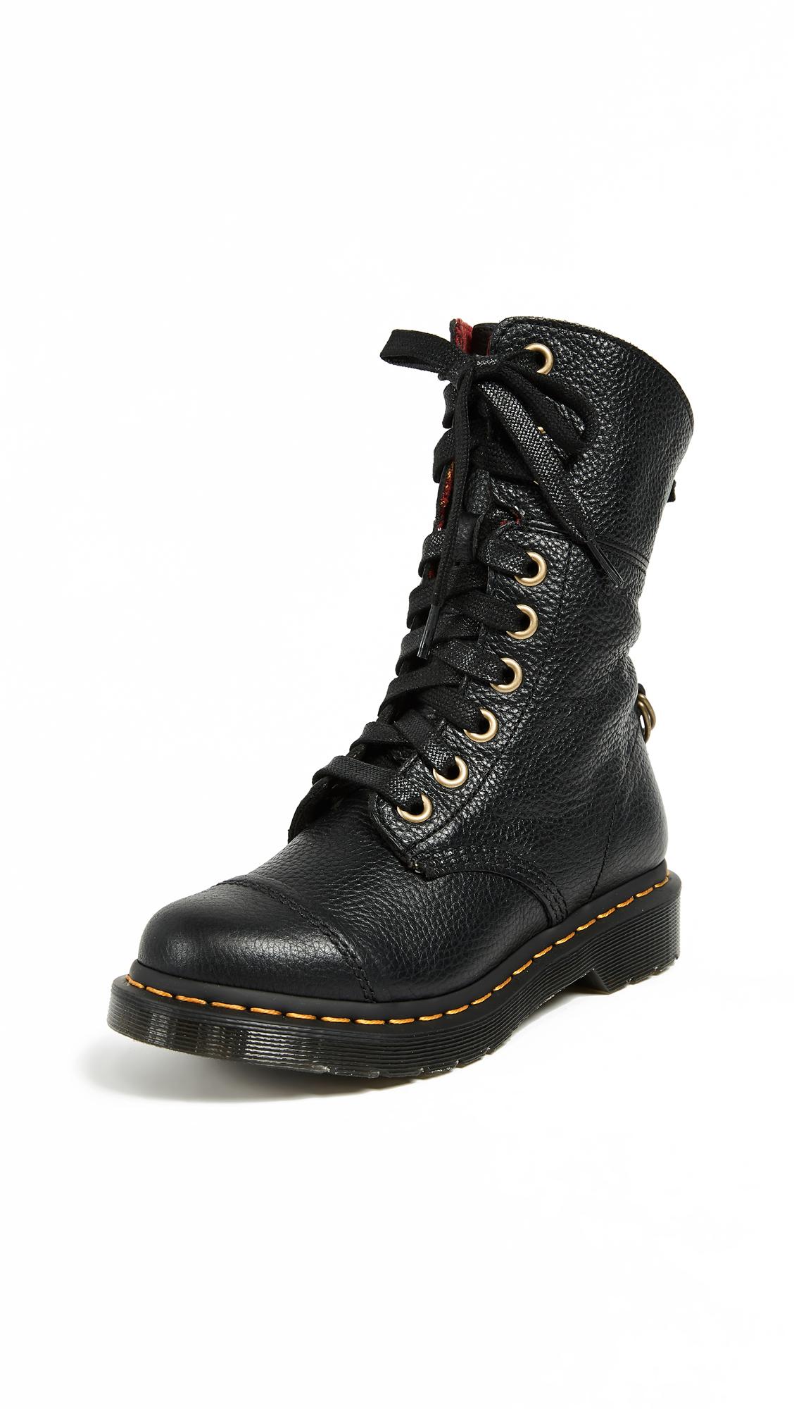 Dr. Martens Aimilita Boots - Black/Tartan Cherry Red
