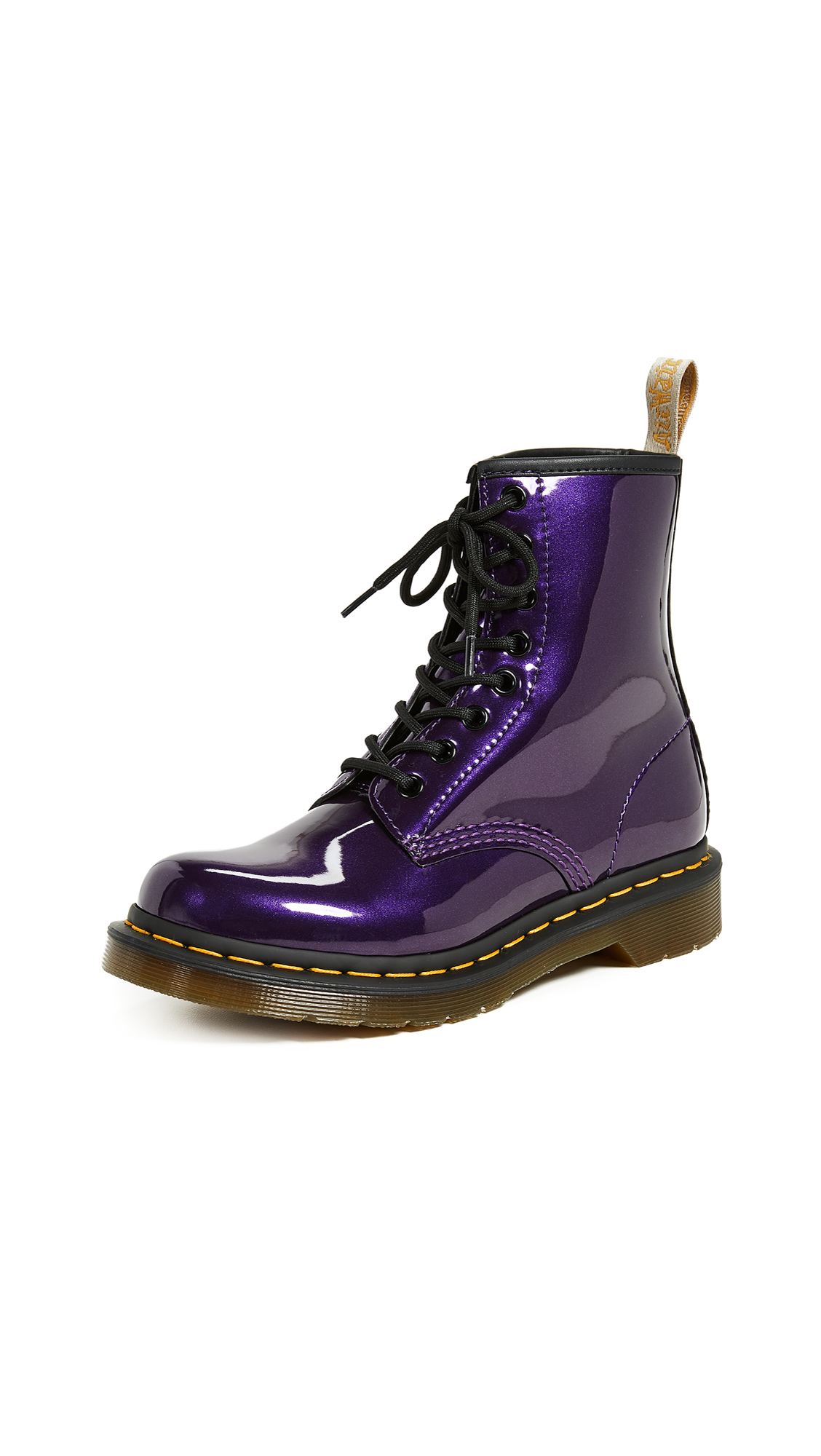 Dr. Martens 1460 Vegan Chrome 8 Eye Boots In Dark Purple