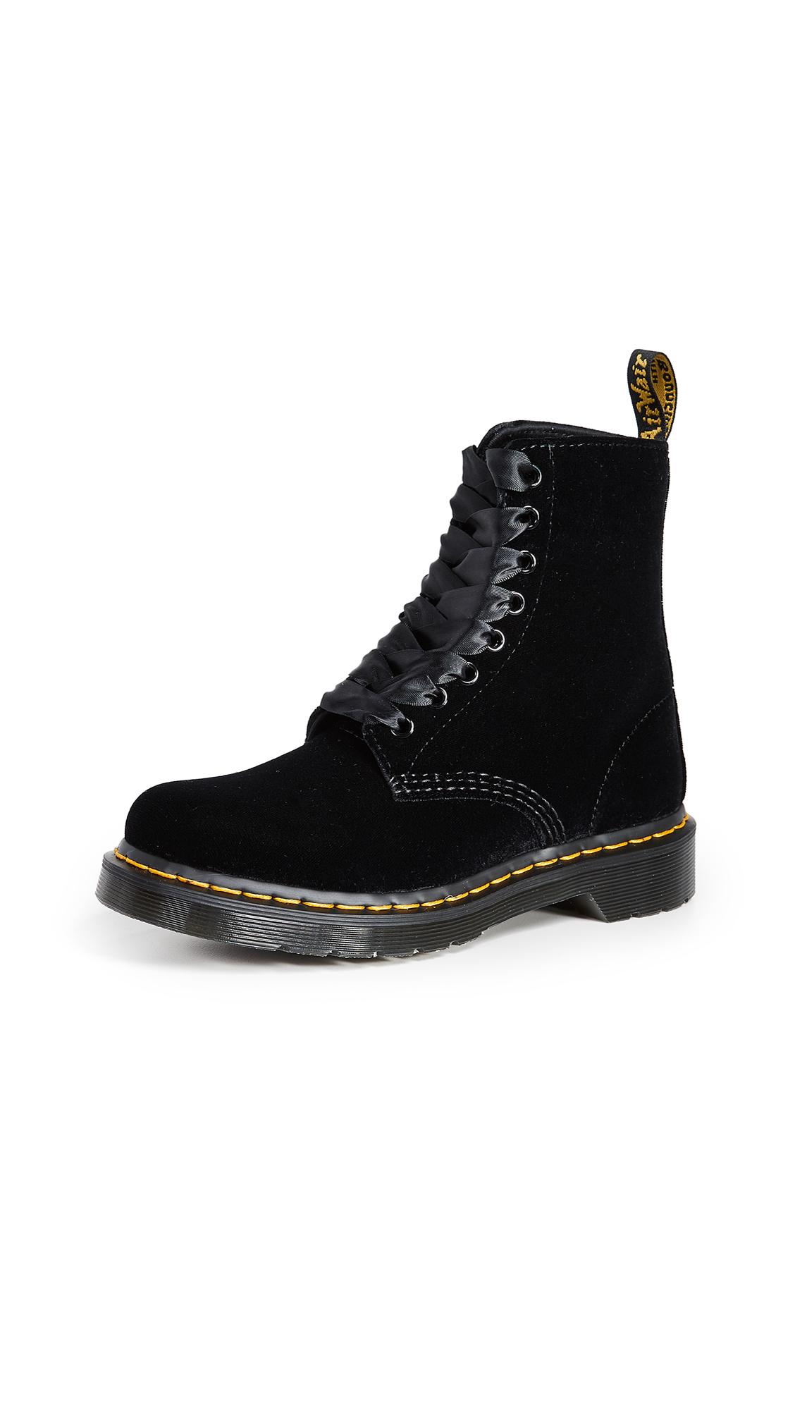 Dr. Martens 1460 Pascal Velvet 8 Eye Boots - Black
