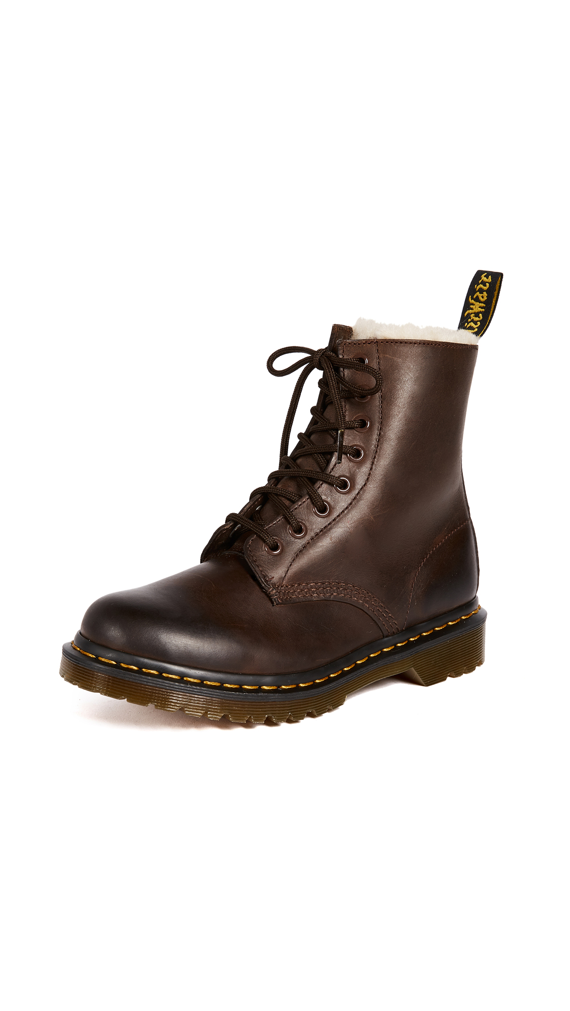 Dr. Martens 1460 Serena 8 Eye Sherpa Boots - Dark Brown