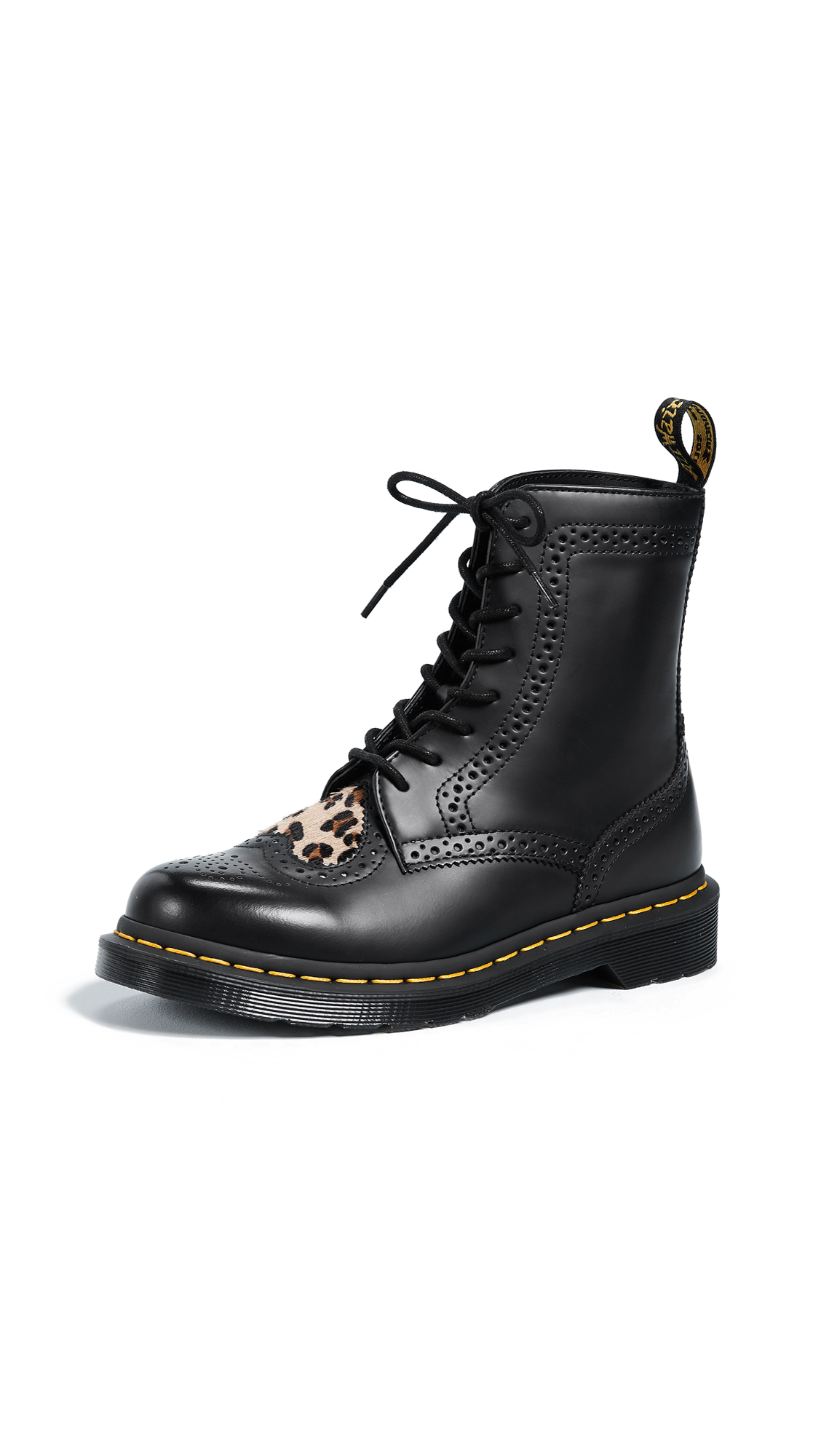 Dr. Martens Bentley II HRT Brogue Boots - Black/Medium Leopard