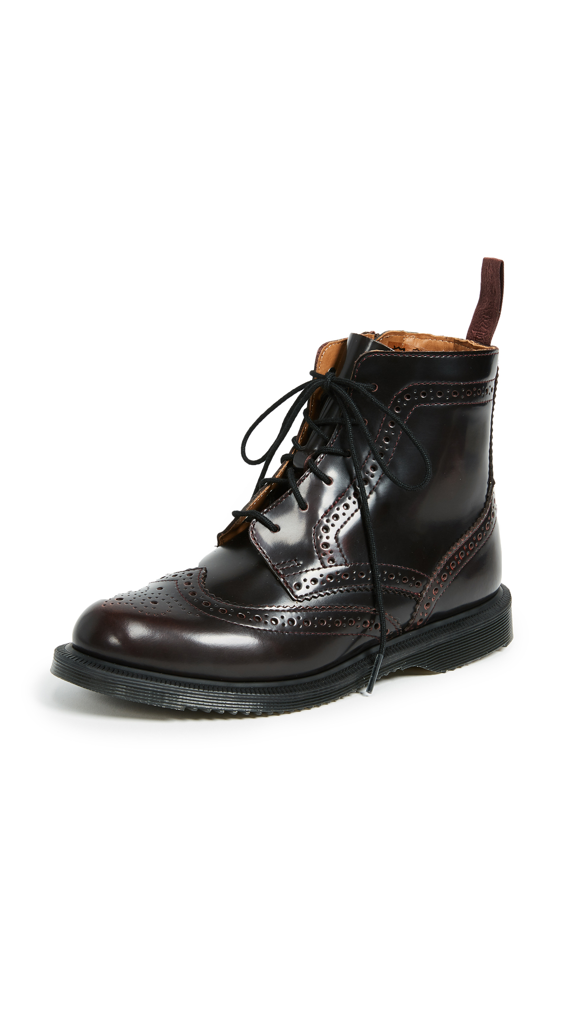 Dr. Martens Delphine 8 Eye Brogue Boots - Cherry Red