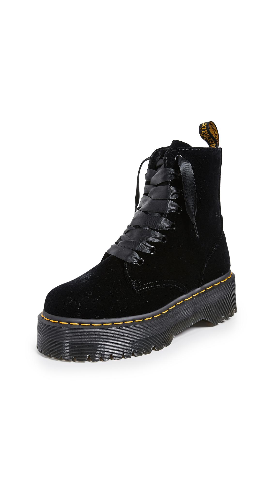 Dr. Martens Jadon 8 Eye Velvet Boots - Black