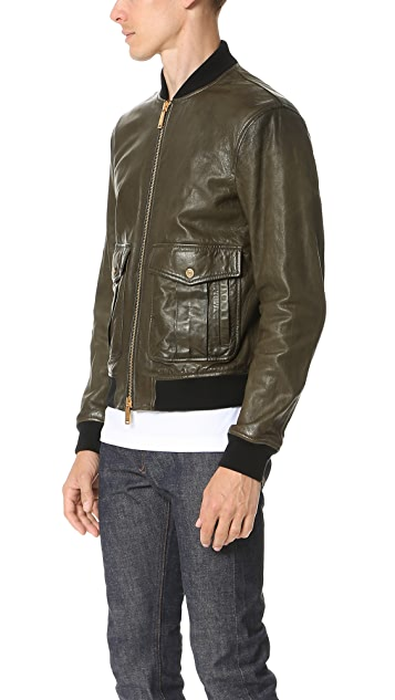 DSQUARED2 Pilot Leather Bomber Jacket