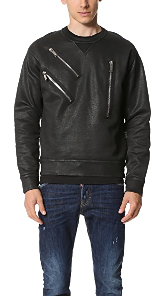 DSQUARED2 Warm Leatherette Wash Sweatshirt
