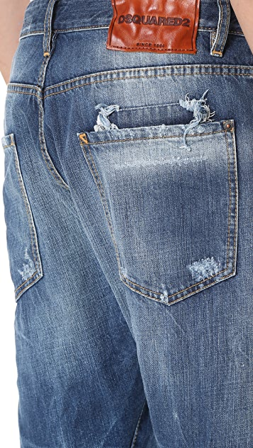 DSQUARED2 Ripped Patch Wash Workwear Jeans