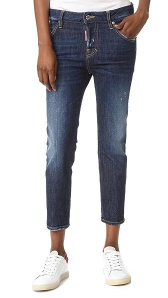 DSQUARED2 Укороченные джинсы Cool Girl с заплатками