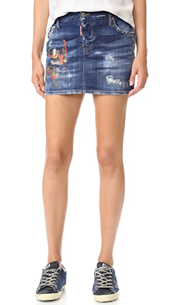 DSQUARED2 Samurai Denim Miniskirt