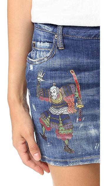 DSQUARED2 Samurai Denim Miniskirt