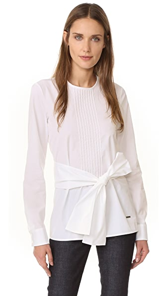 DSQUARED2 Pleated Poplin Top - White