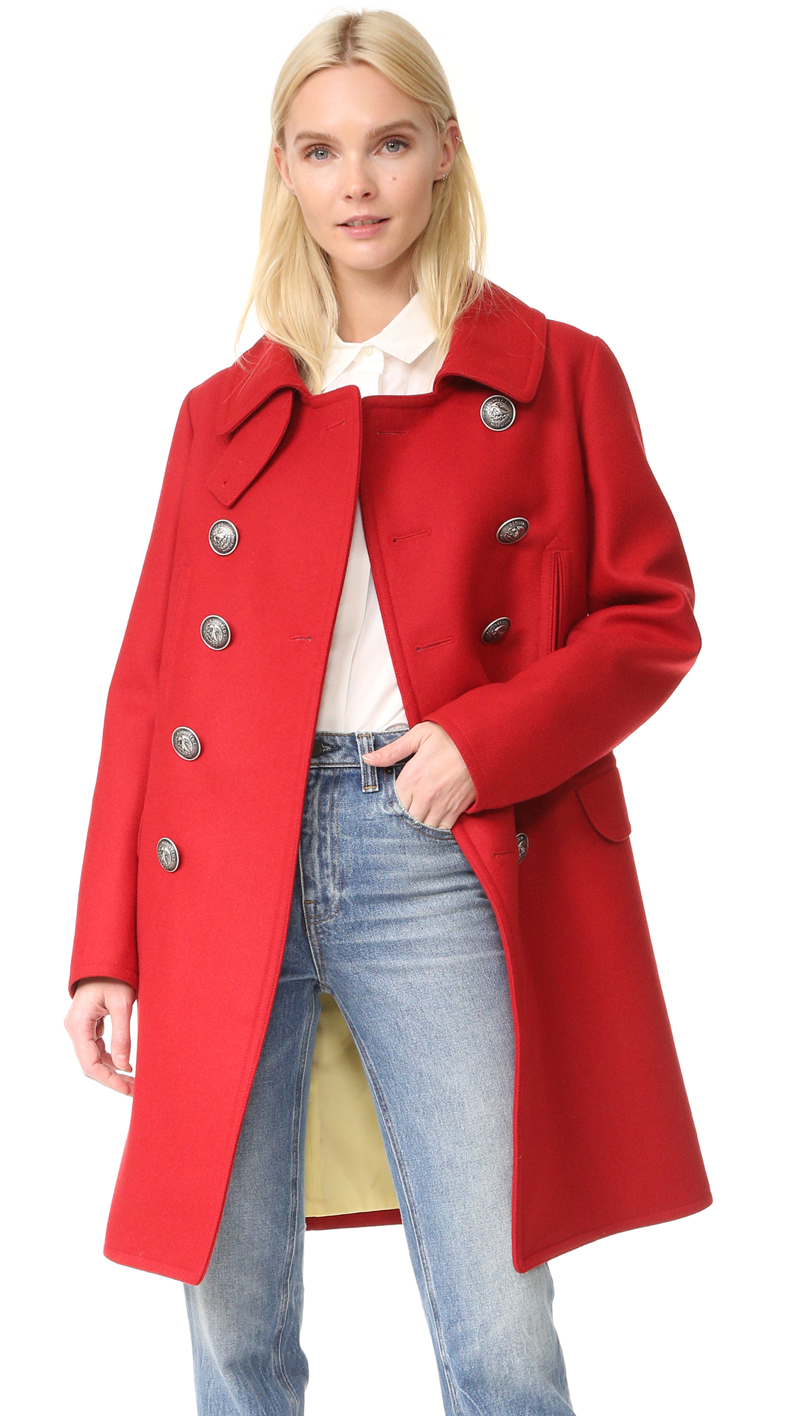Dsquared2 Military Double Breasted Coat - Red