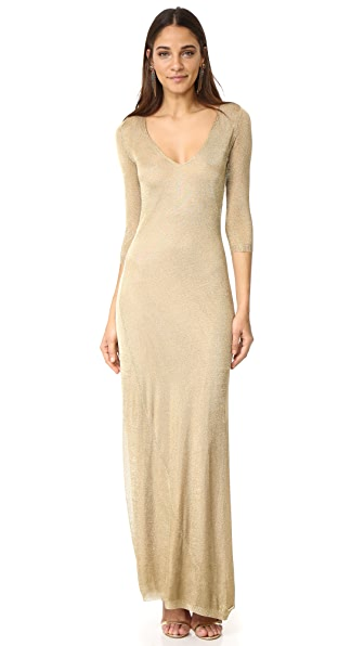 DSQUARED2 Long Sleeve Maxi Dress - Gold