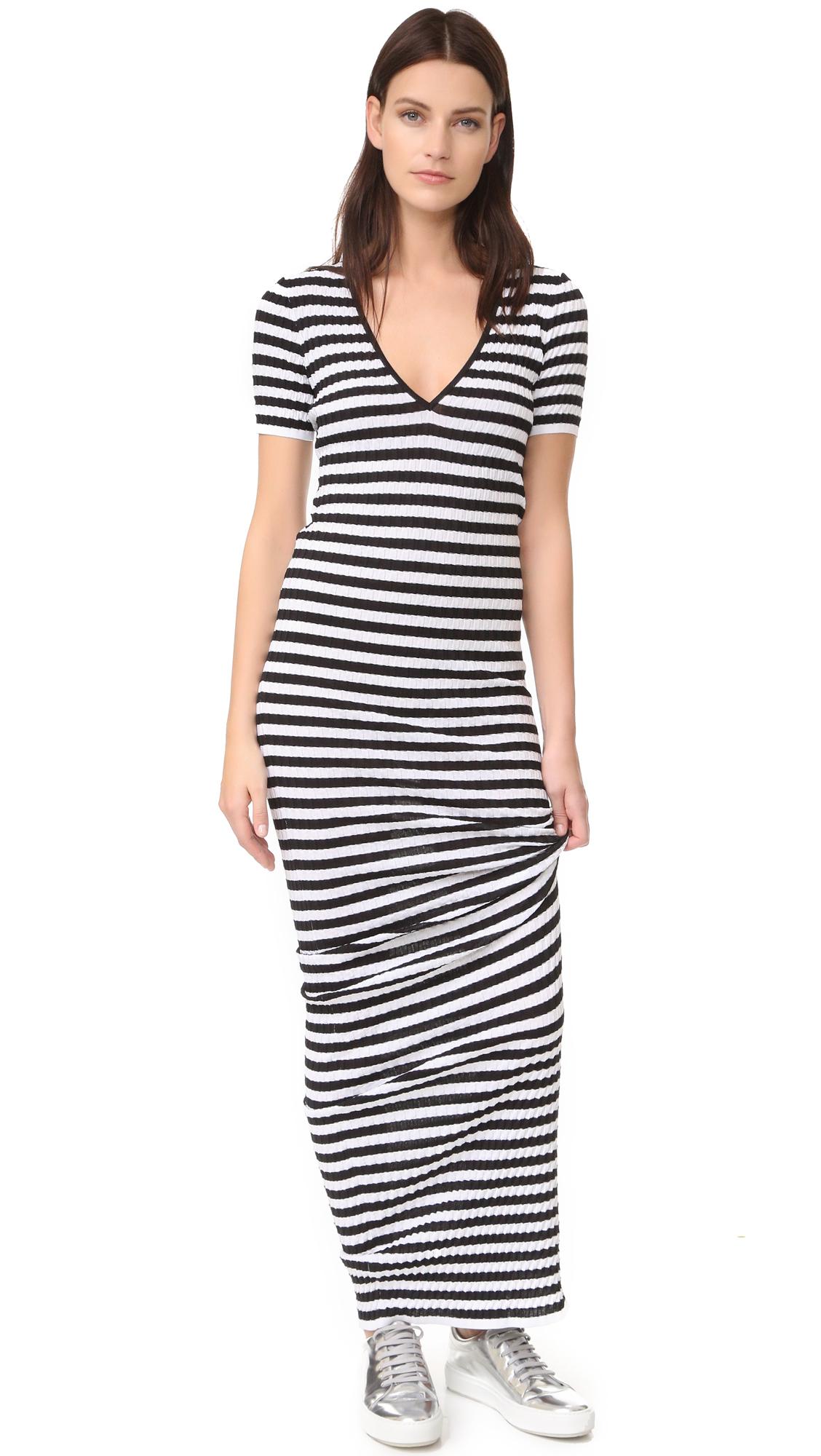 DSQUARED2 Striped Maxi Dress - Black/White