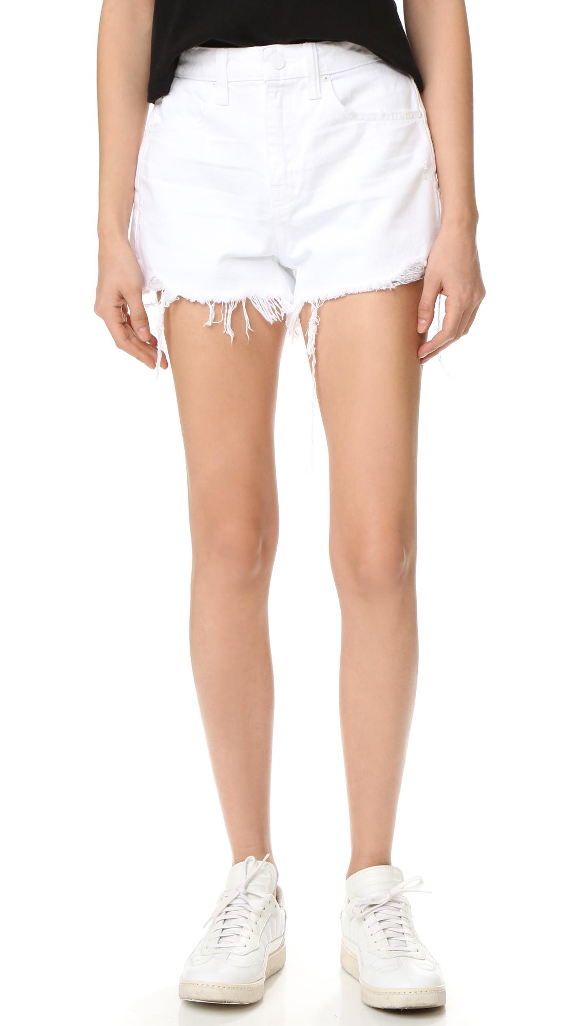 Denim x Alexander Wang Bite White Scratch Shorts In White