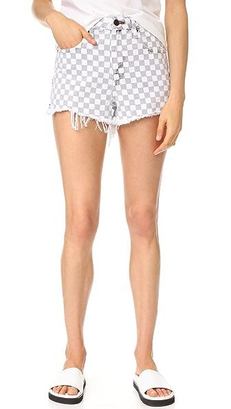 Denim x Alexander Wang Bite Cutoff Shorts - Checkerboard Print