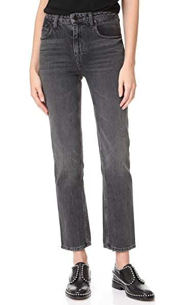 Denim x Alexander Wang Cult Cropped Straight Grey Aged Jeans - Grey Aged