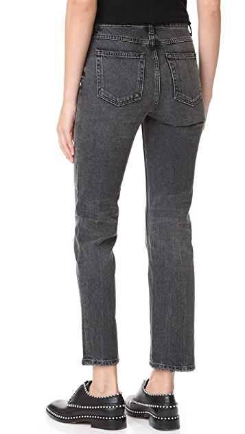 Denim x  Alexander Wang Cult Cropped Straight Grey Aged Jeans