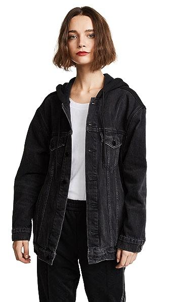 Denim x Alexander Wang Daze Mix Grey Jean Jacket Aged with Black In Grey Aged