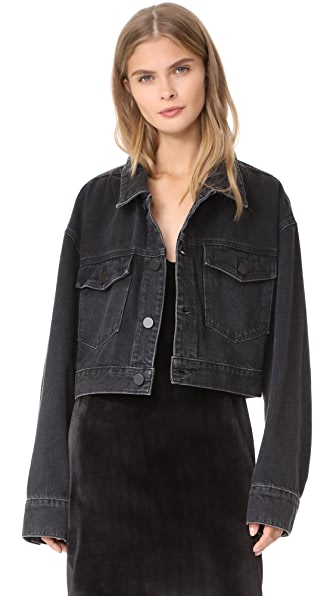 Denim x Alexander Wang Cropped Oversized Jacket In Black Fade