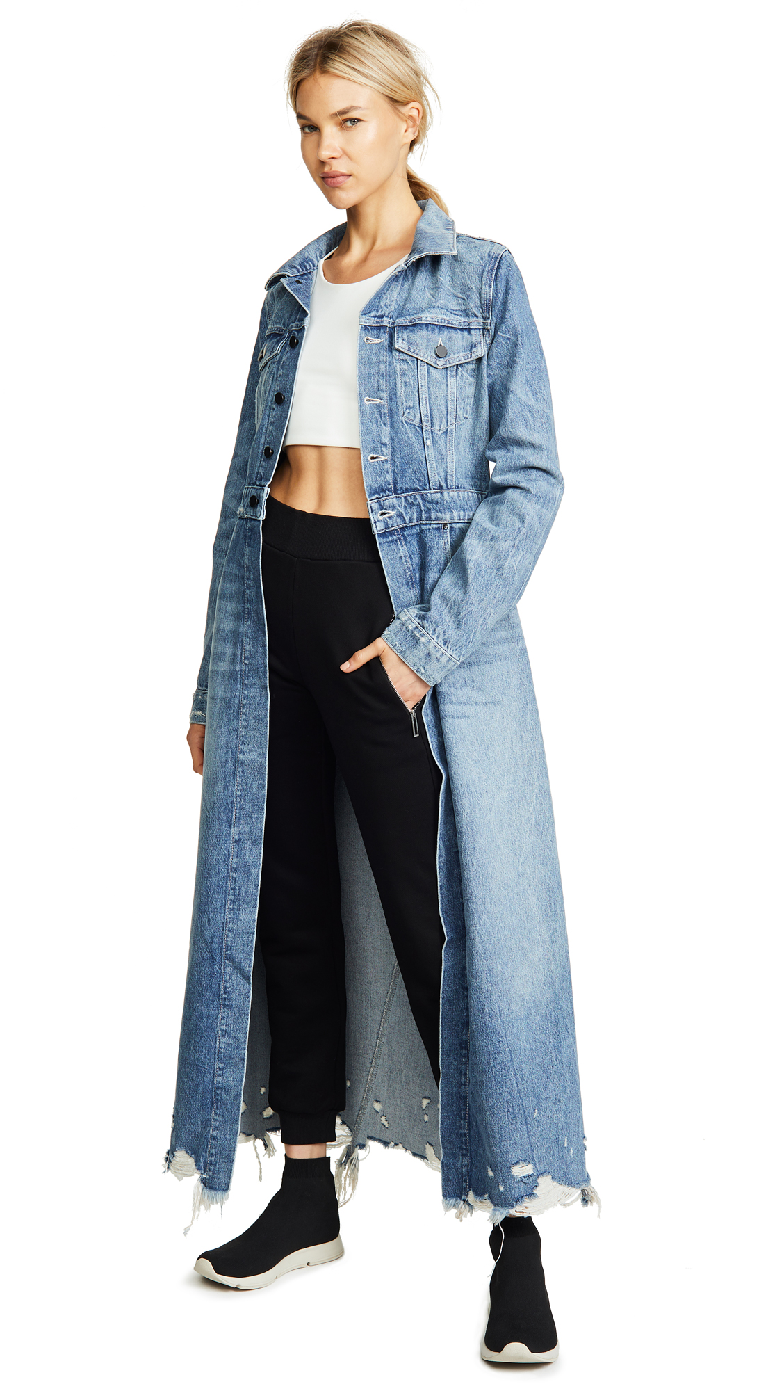 Denim x Alexander Wang Fitted Trench Coat In Vintage Light Indigo