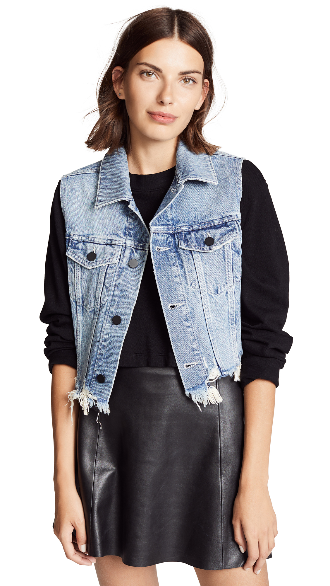 Denim x Alexander Wang Cropped Vest In Vintage Light Indigo