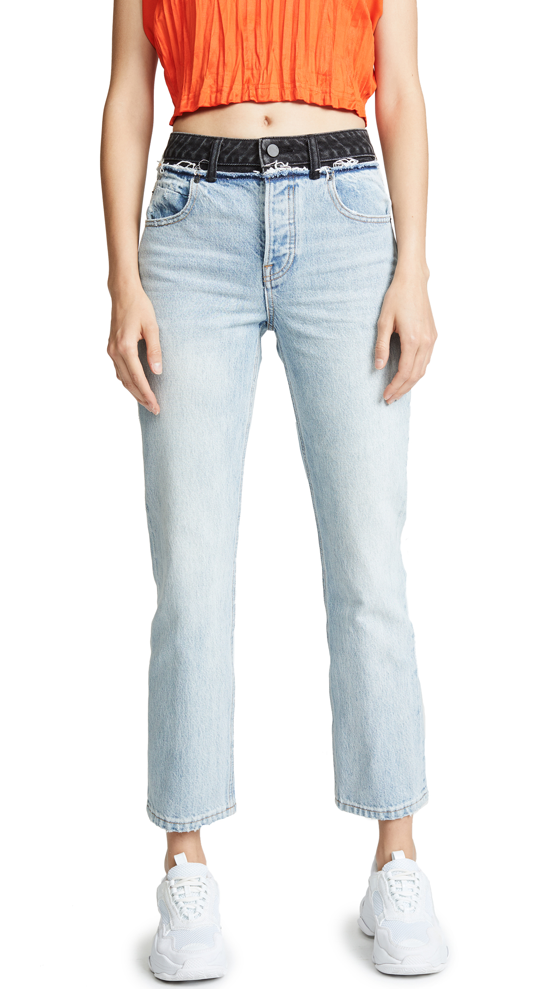 Denim x Alexander Wang Cult Jeans In Bleach/Grey Aged
