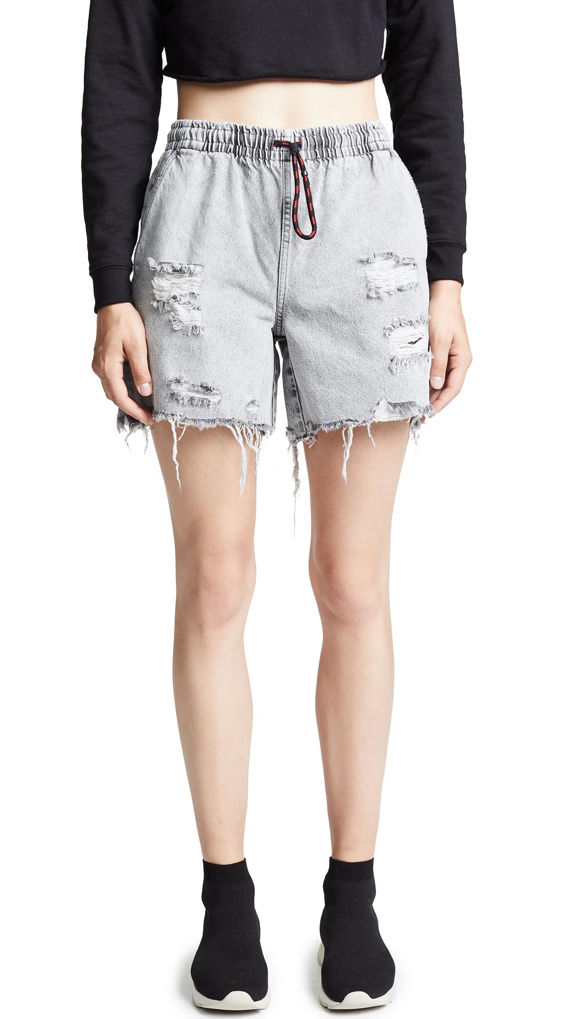 Denim x Alexander Wang Jogger Shorts In Light Grey