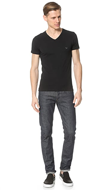Emporio Armani Stretch Cotton V Neck Tee