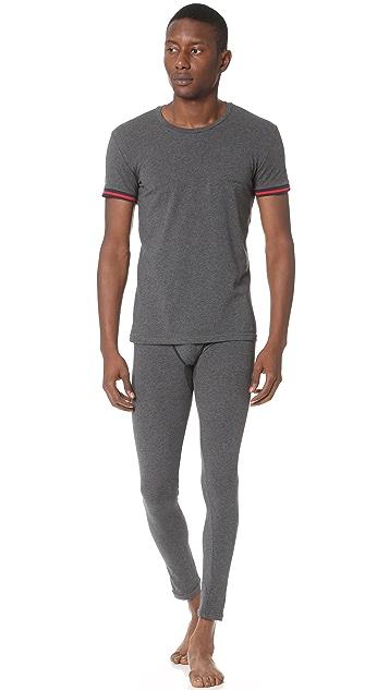Emporio Armani Striped Logo Band Stretch Cotton Leggings