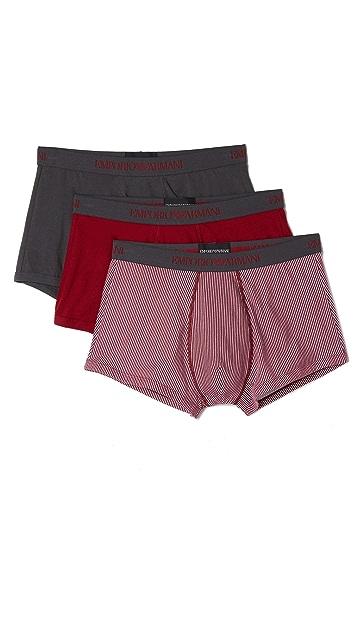 Emporio Armani 3 Pack Pure Cotton Trunks