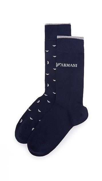Emporio Armani 2 Pack Stretch Cotton Crew Socks
