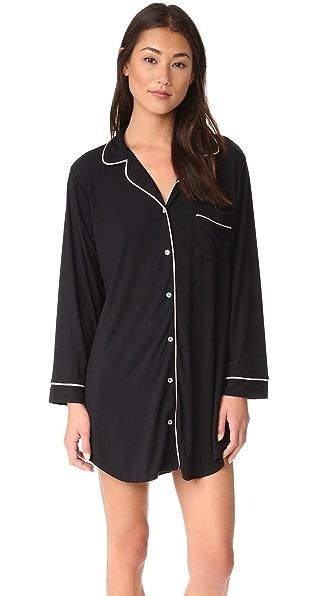 Eberjey Gisele Sleep Shirt - Black/Sorbet Pink