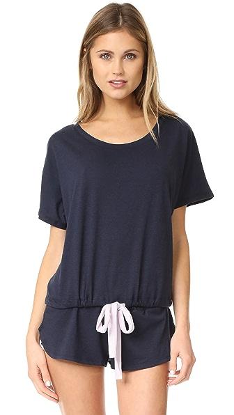Eberjey Heather Short Sleeve Tee In Infinity Blue/Fragrant Lilac