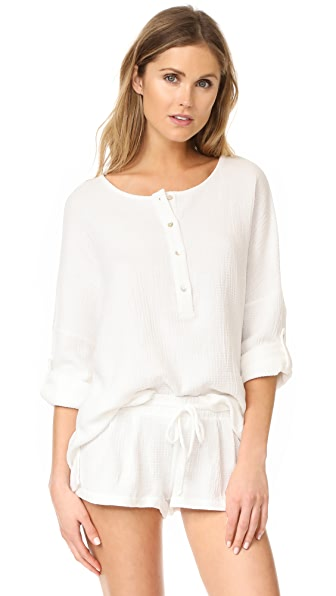 Eberjey Silvana Long Sleeve Top - Ivory